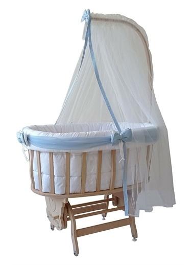 Babycom Naturel Boyasız Ahşap Sepet Beşik + Kahve Zikzak Uyku Seti Mavi